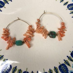 Coral & turquoise hoops